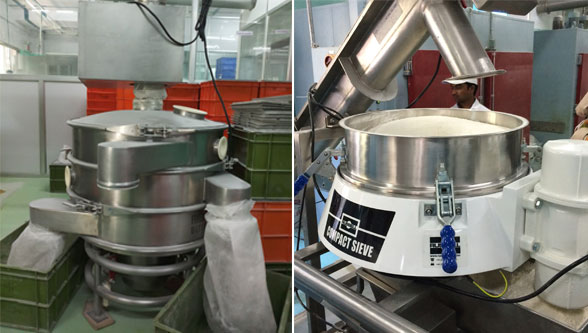 Sieving machine for instant food mixes