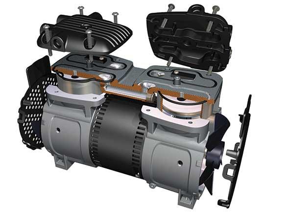 The new Gast 86/87R Series  of oil-less rocking piston compressors & vacuum pumps