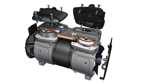 The new Gast 86/87R Series  of oil-less rocking piston compressors & vacuum pumps